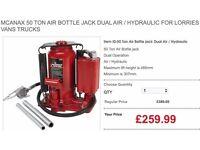 MCANAX 50 TON AIR BOTTLE JACK DUAL AIR / HYDRAULIC FOR LORRIES VANS TRUCKS