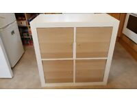 IKEA Kallax unit in white colour with 4 door inserts