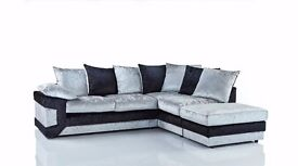 new dino sofa in black silver crushed velvet fabric sprung base & foam seats stylish & comfortable