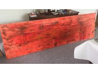 Original Large modern art red wall painting 275cm X 85cm