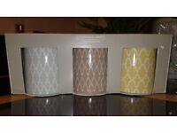 NEXT Set of 3 Ceramic Geo Design kitchen Storage Jars Tea Coffee Sugar NEW