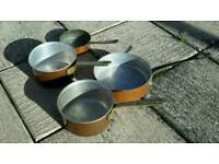 VINTAGE COPPER and BRASS SAUCE PANS