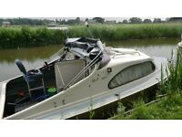 2 berth shetland 535 river/canal/lake/ cruiser with 5yr old tohatsu 15hp electric start outboard