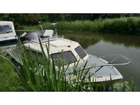 shetland 535 2 berth canal/river cruiser with 5yr old 15hp fourstroke electric start tohatsu
