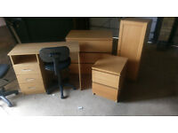 Ikea Malm Units x2 Ikea Book Case Desk all Oak and Two desk chairs