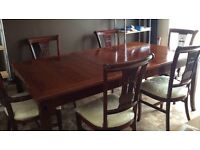 Cherry wood 6-8 chair dining table