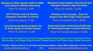 Cell Phone Unlocking From - $1.88 Samsung,Htc,Lg,IPhone,Sony,Blackberry,Nokia,Motorola,Zte,Huawei,