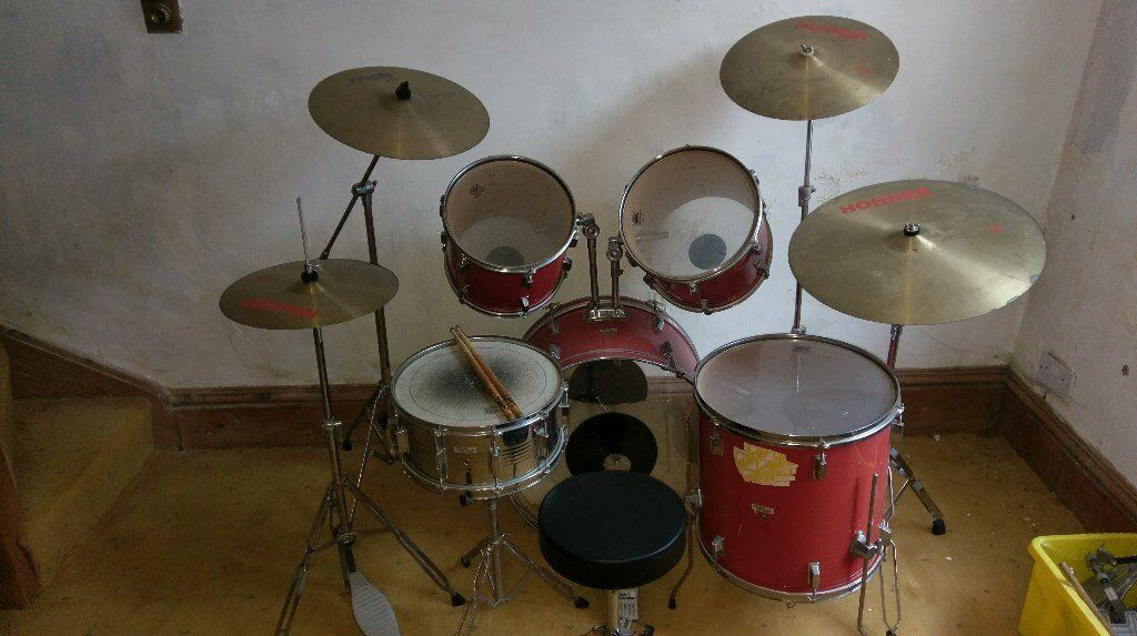 Full Size Red Drum Kit with Stool and Sticks