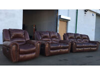 3+2+1 brown leather recliner sofa, couch, suite DELIVERY AVAILALBE