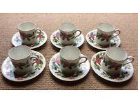 Set of 6 demi-tasse coffee cups and saucers, WEDGWOOD bone china 'Starflower'