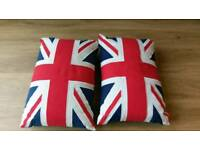 Two Union Jack cushions. 43 x 30 cm