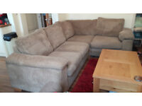 DFS corner sofa - taupe/mink - jumbo cord - excellent condition