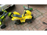Kids Small Electric Quad Bike Yellow Rechargeable Ride On
