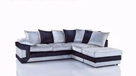 SUPERB SILVER AND BLACK== BRAND NEW DINO CRUSHED VELVET CORNER SOFA AVAILABLE CORNER AND 3+2 SUITE