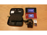 Nintendo 3DS Console Bundle - Red - 16GB SD Card, Games, Cover, Case + Charger