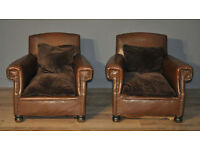 Attractive Small Pair of 2 Vintage 1920's Scroll Arm Chairs Armchairs for Reupholstery