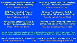 Cell Phone Unlocking From - $1.88 Samsung,Htc,Lg,IPhone,Sony,Blackberry,Nokia,Motorola,Zte,Huawei,