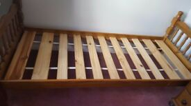 Pine single bed for sale.