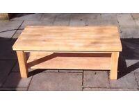 Solid Light Oak Coffee Table
