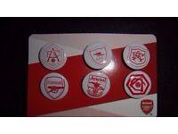 Arsenal FC Badges Set of 6 Badges showing shirt badges of 1927 onwards