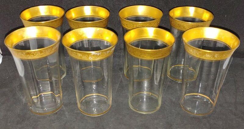 "Set of 8 Vintage Tiffin Franciscan Rambler Rose Flat Bottom Tumblers 4"" Tall"