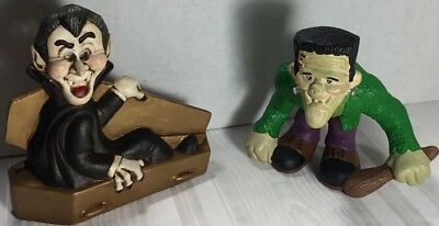 Vintage Homemade Halloween Ceramic Dracula Sitting Up In A Coffin & - Dracula Halloween