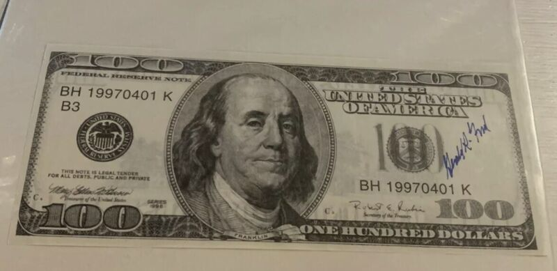 Gerald Ford Signature President Signed Large $100 Dollar Bill Dollars, Autograph