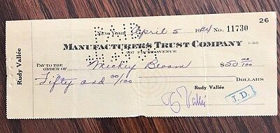 RUDY VALLEE, signed check to MICKEY BLOOM signature endorsed on back,  4/5/34