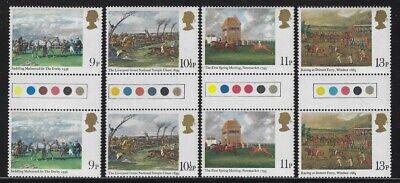 Great Britain 1979 Horse Racing Paintings Gutter Pairs set Sc# 863-66 NH