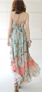 Sexy Women Deep V Neck Boho Maxi Floral Long Chiffon Gisele Dress Beach S M L XL