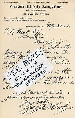 1903 Letterhead George Hook Wheeling West Virginia Germania Bank Reymann F J Fox