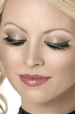 Glamour Eyelashes New Adult Halloween Cristmas Womens Makeup by Fever Black