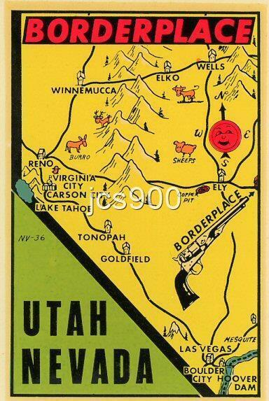 VINTAGE BORDERPLACE UTAH NEVADA STATE SOUVENIR OLD WEST TRAVEL WATER DECAL RARE