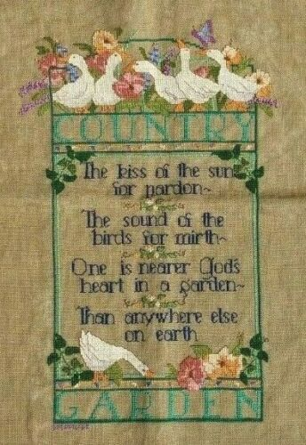 Country Garden Cross Stitch Christian Poem Geese Floral Finished