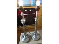 Pair chrome candlestick lamps.