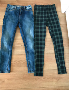 TOPSHOP JEANS AND PLAID PANTS