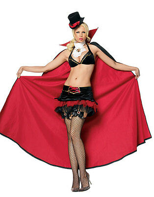 Sexy Vampire Queen Womens Adult Halloween Costume Dracula 5 Piece Set Retro M/L - Dracula Women Costumes