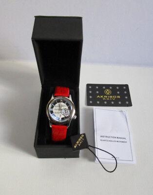 Akribos XXIV AK837RD AK837 Floral Quartz Red Leather Strap Women's Watch - New