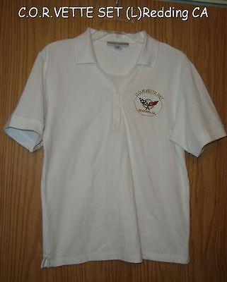 WHITE CHEVY CORVETTE  C.O.R.VETTE SET REDDING CA WMN L POLO SHIRT TOP TINY (Women's Clothing Redding Ca)