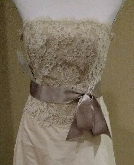 Paloma Blanca silk and lace strapless wedding gown, size 10