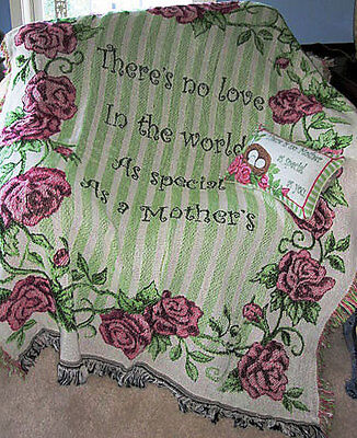 Mother's Love Tapestry Afghan Throw & Word Pillow Set ~ Mother's Day Gift Set -