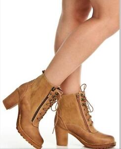 Lace-Up Heeled Booties in Camel Cambridge Kitchener Area image 2