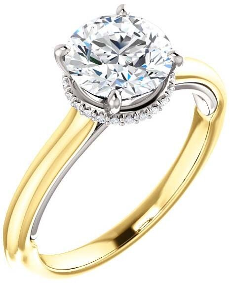 GIA 1.01 carat Round Diamond Engagement Solitaire 14k Two Tone Gold Ring I S12