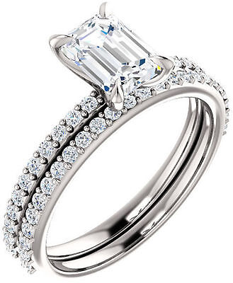 1.02 carat Emerald cut Diamond GIA H color VS1 clarity 14k Gold accented ring