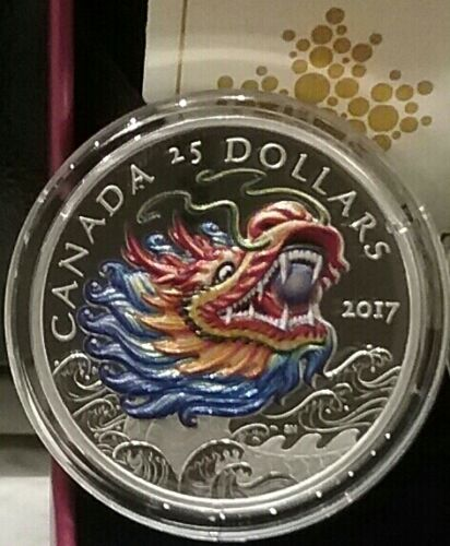 2017 Dragon Boat Festival $25 1OZ Silver Ultra-High Relief Coin Chinese Canada