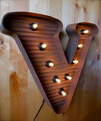 Lg Brown Vintage Style Light Up Marquee Letter V 24 Tall Metal Rustic Sign