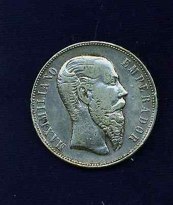 MEXICO EMPIRE  OF MAXIMILIAN 1866-Mo  50 CENTAVOS  SILVER COIN, XF