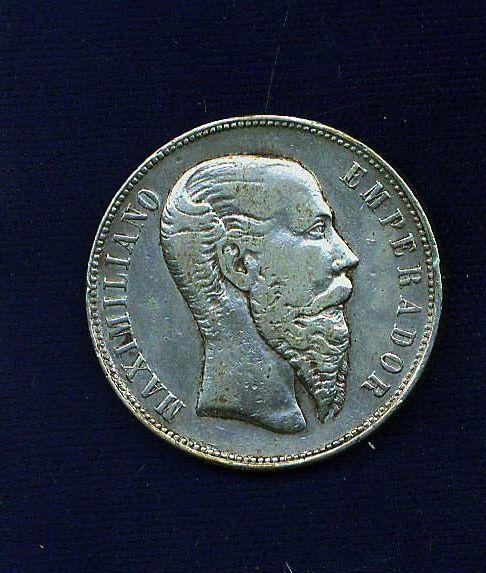 MEXICO EMPIRE  OF MAXIMILIAN 1866-Mo  50 CENTAVOS  SILVER COIN, XF