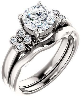 1.20 carat Round Diamond F VS1 w/ GIA certificate 14k white Gold Engagement Ring