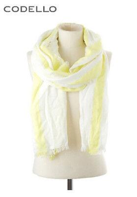 Schal Codello mit Fransen, gelb/weiß. Ca. 200x70 cm. NEU!!! KP 49,95 €